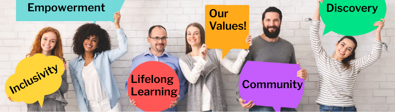 People holding up various values